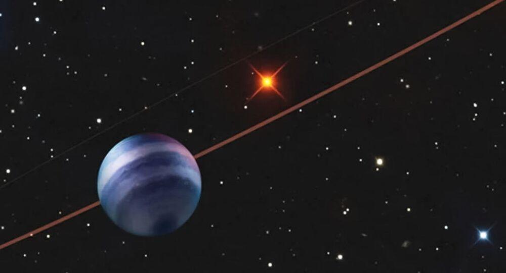 Representação artística do exoplaneta COCONUTS-2b orbitando a estrela anã COCONUTS-2