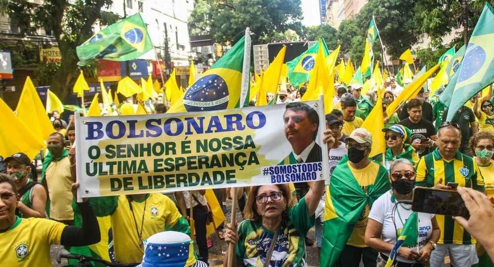 Protesto a favor do presidente Jair Bolsonaro e voto impresso, realizado na cidade de Belém, Pará, em 1º de agosto