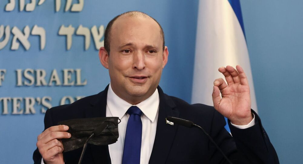 Premiê israelense Naftali Bennett durante coletiva de imprensa em Jerusalém, 14 de julho de 2021