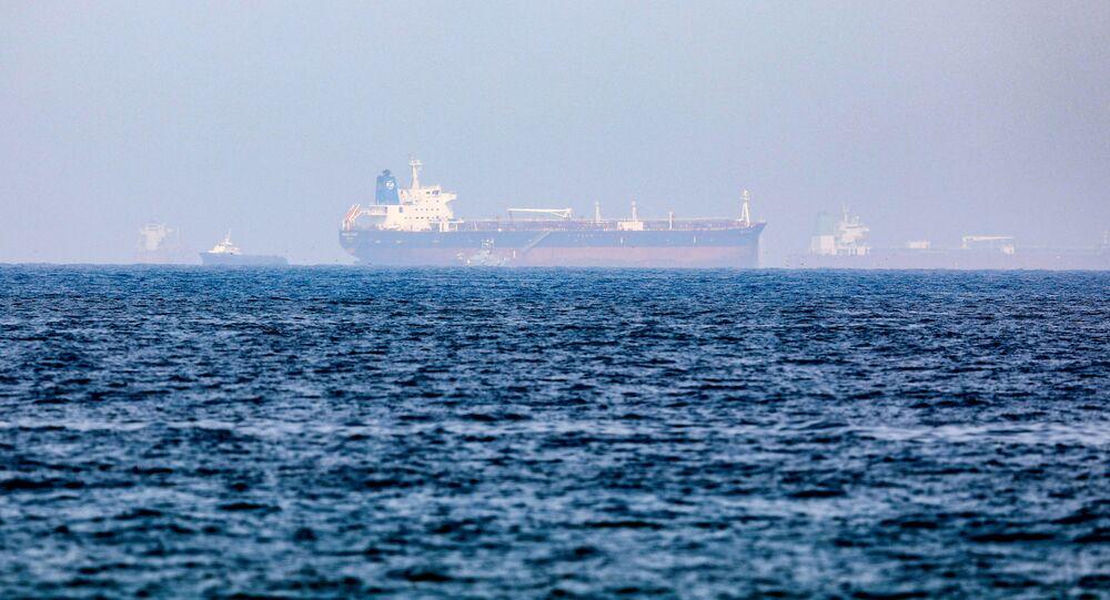 Mercer Street, petroleiro de gerenciamento israelense, ao largo do porto de Fujairah, Emirados Árabes Unidos, 3 de agosto de 2021