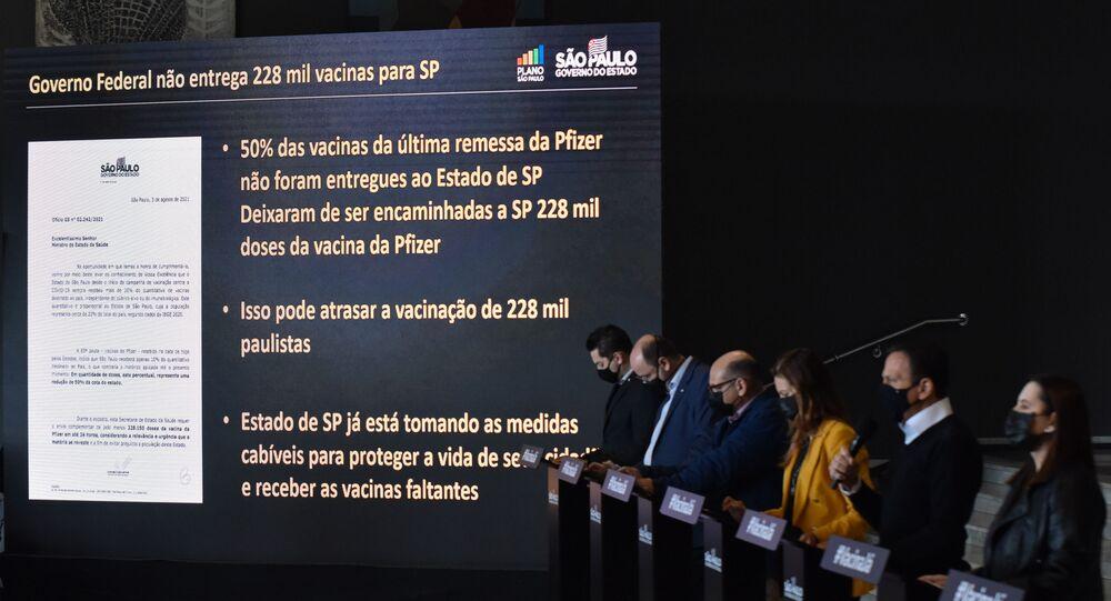 João Doria (PSDB) governador de São Paulo, participa de coletiva de imprensa para falar sobre o combate à COVID-19 e falta de entrega de vacinas no Palácio dos Bandeirantes, São Paulo, 4 de agosto de 2021