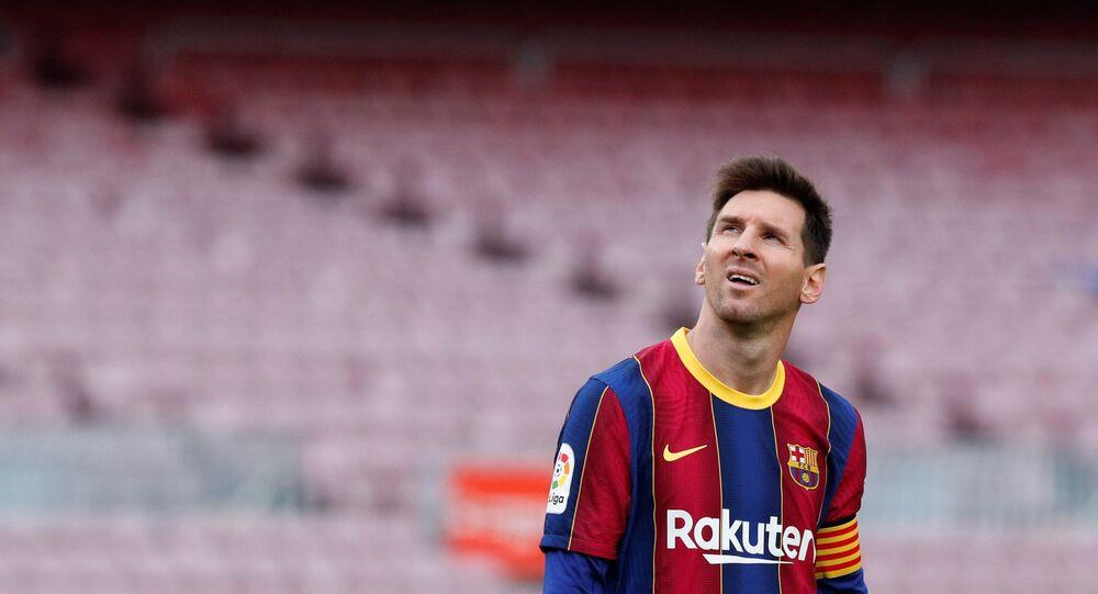 Lionel Messi durante partida do FC Barcelona contra o Celta Vigo da La Liga em Camp Nou, Barcelona, Espanha, 16 de maio de 2021