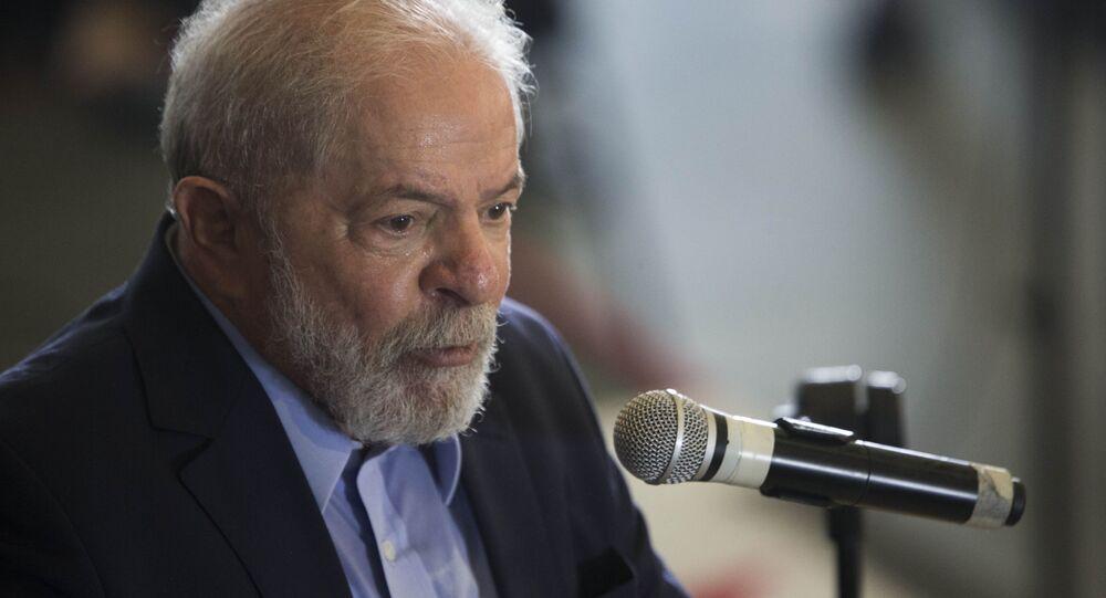O ex-presidente Lula (PT) durante entrevista coletiva de imprensa no Sindicato dos Metalúrgicos do ABC, em São Bernardo do Campo, 10 de março de 2021