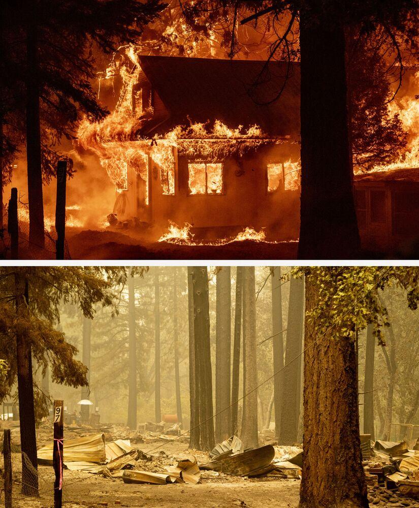Combinação de fotos mostra uma casa em chamas em 24 de julho e seus restos em 26 de julho de 2021 durante o desastroso fogo Dixie, na região de Indian Falls, Califórnia, EUA