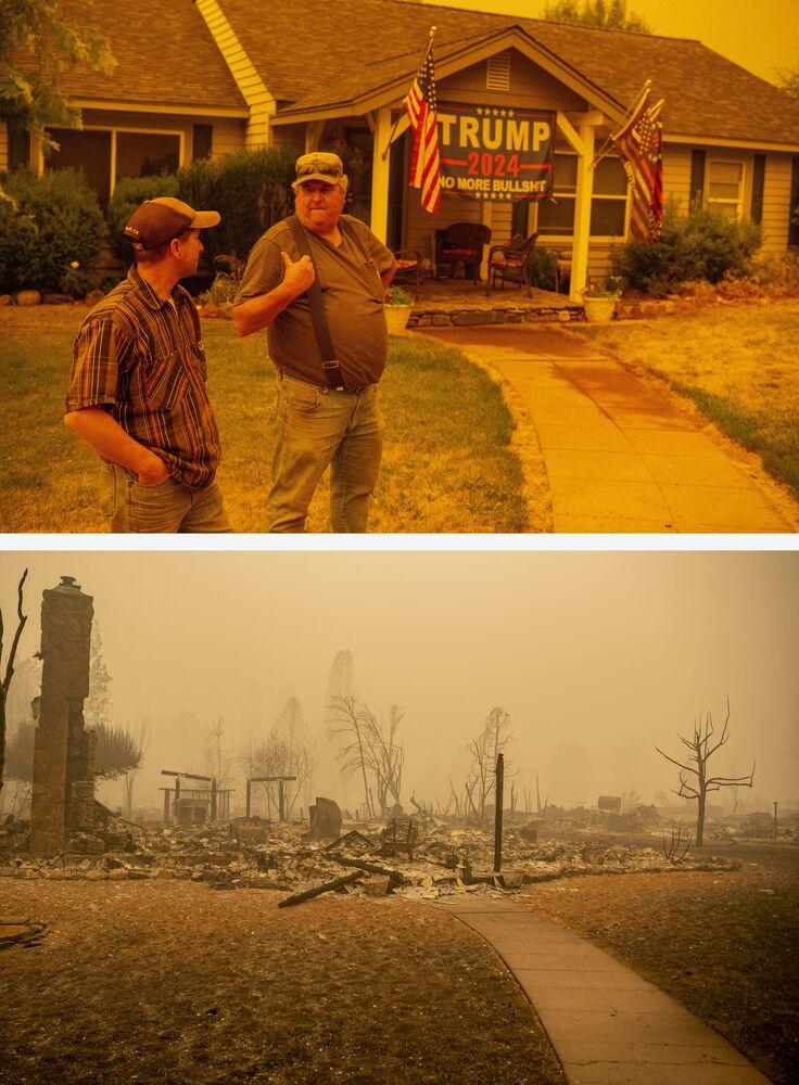 Casa de Jerry Whipple (na foto acima) antes e após o fogo, em 23 de julho e em 7 de agosto de 2021, em Greenville, Califórnia, EUA