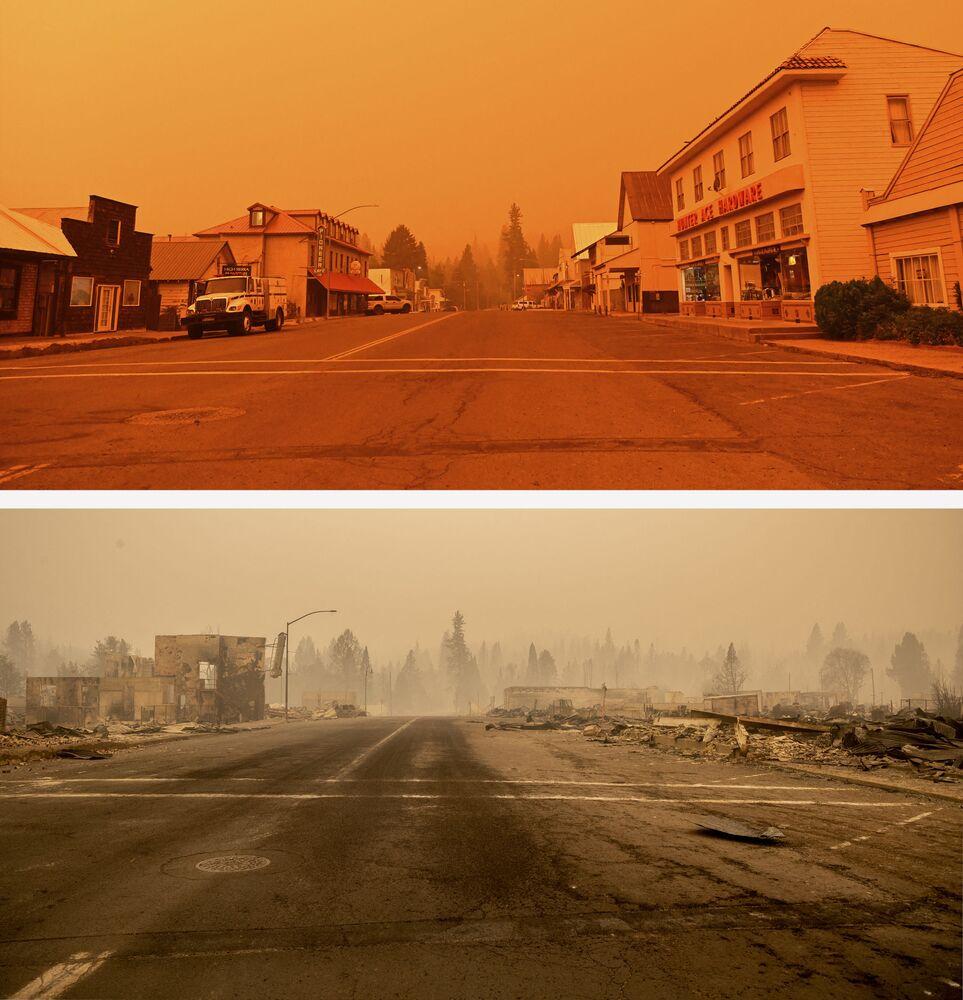 Centro da cidade de Greenville na Califórnia antes e após o fogo florestal Dixie, em 23 de julho e 4 de agosto de 2021