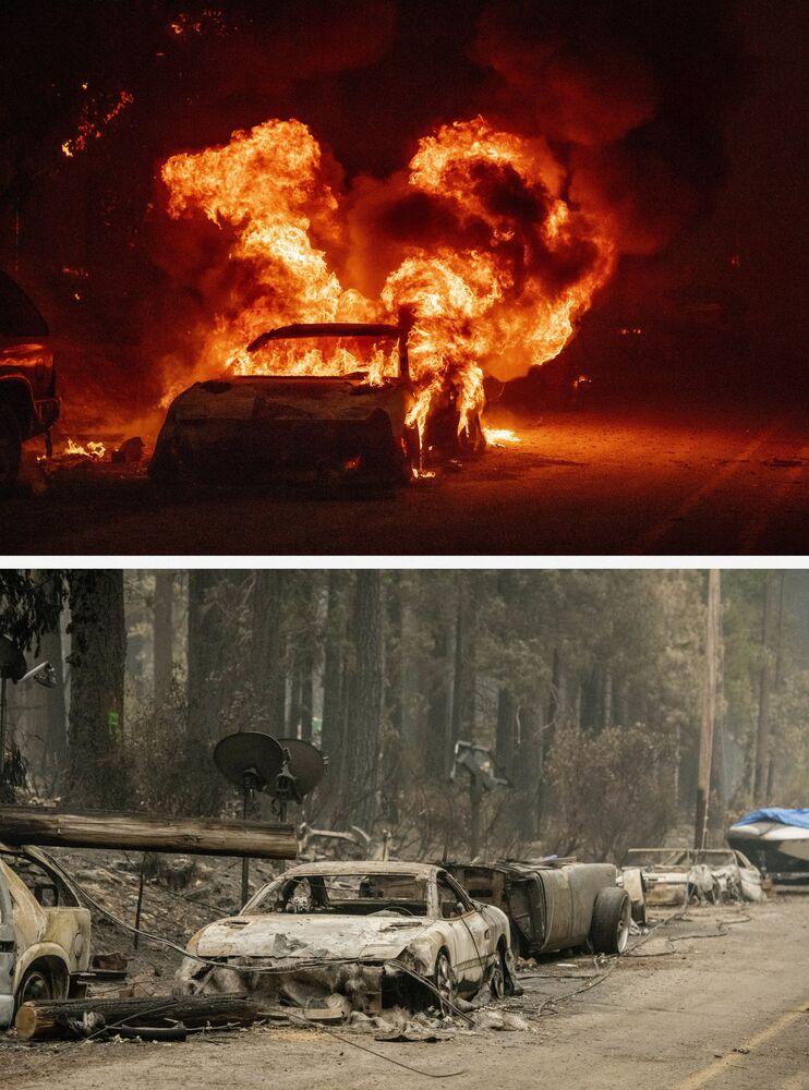Foto mostra um veículo ardendo em 24 de julho e seus restos 7 de agosto de 2021 durante o incêndio florestal Dixie, na região de Indian Falls, Califórnia, EUA