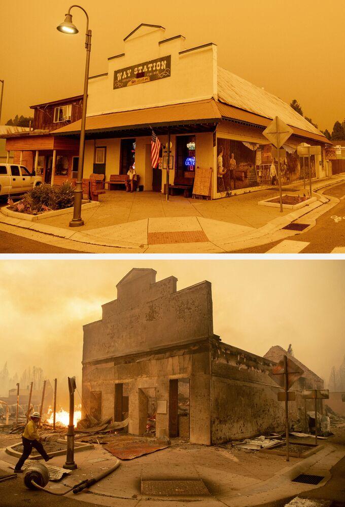 Bar Way Station antes de arder e após o incêndio Dixie, em 23 de julho e 4 de agosto de 2021, na cidade de Greenville, Califórnia, EUA