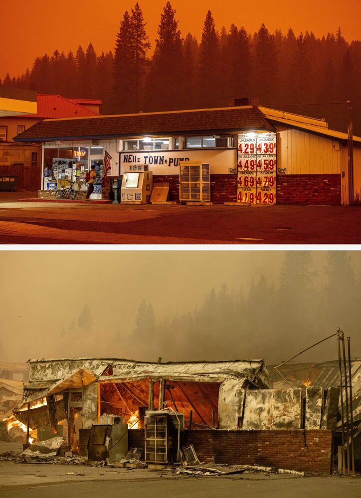 Foto mostra supermercado em posto de gasolina antes e após o incêndio florestal Dixie, em 23 de julho e 4 de agosto de 2021, na cidade de Greenville, Califórnia, EUA
