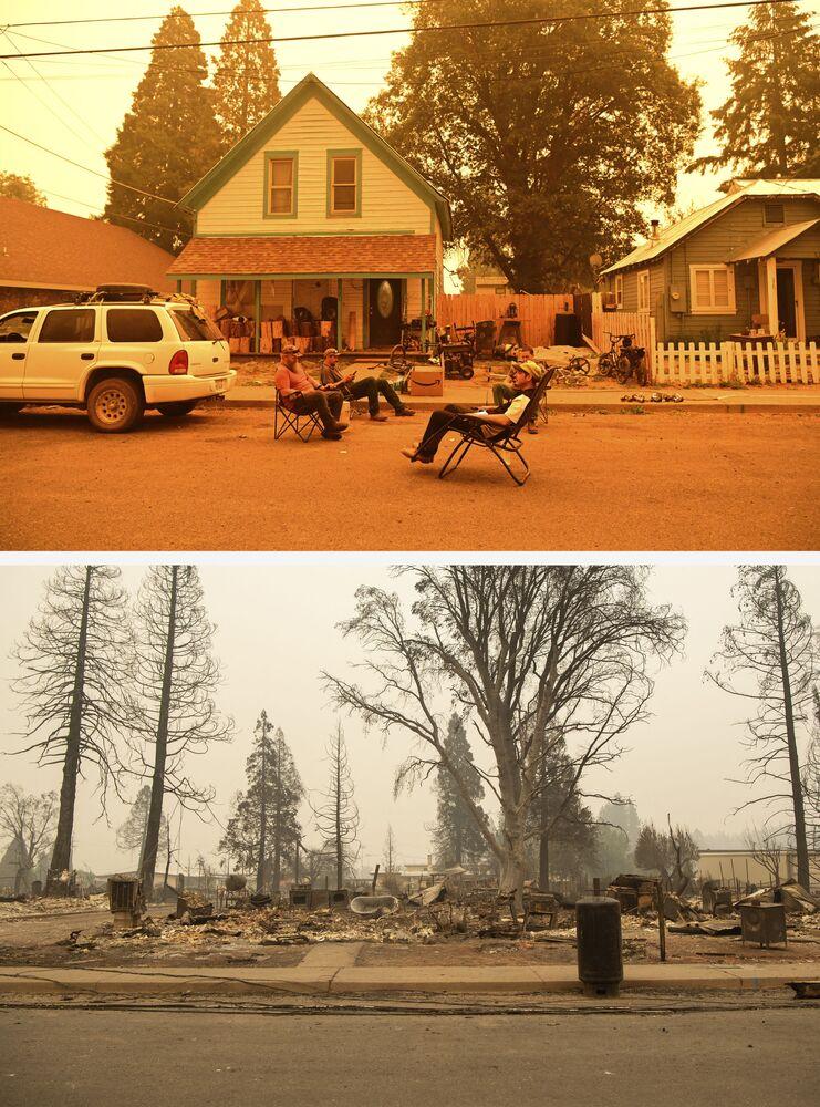 Foto acima mostra residentes ignorando a ordem de evacuação devido ao incêndio Dixie na frente de sua casa, 23 de julho, em Greenville, Califórnia, EUA. Foto abaixo mostra a casa destruída pelo fogo florestal em 7 de agosto de 2021