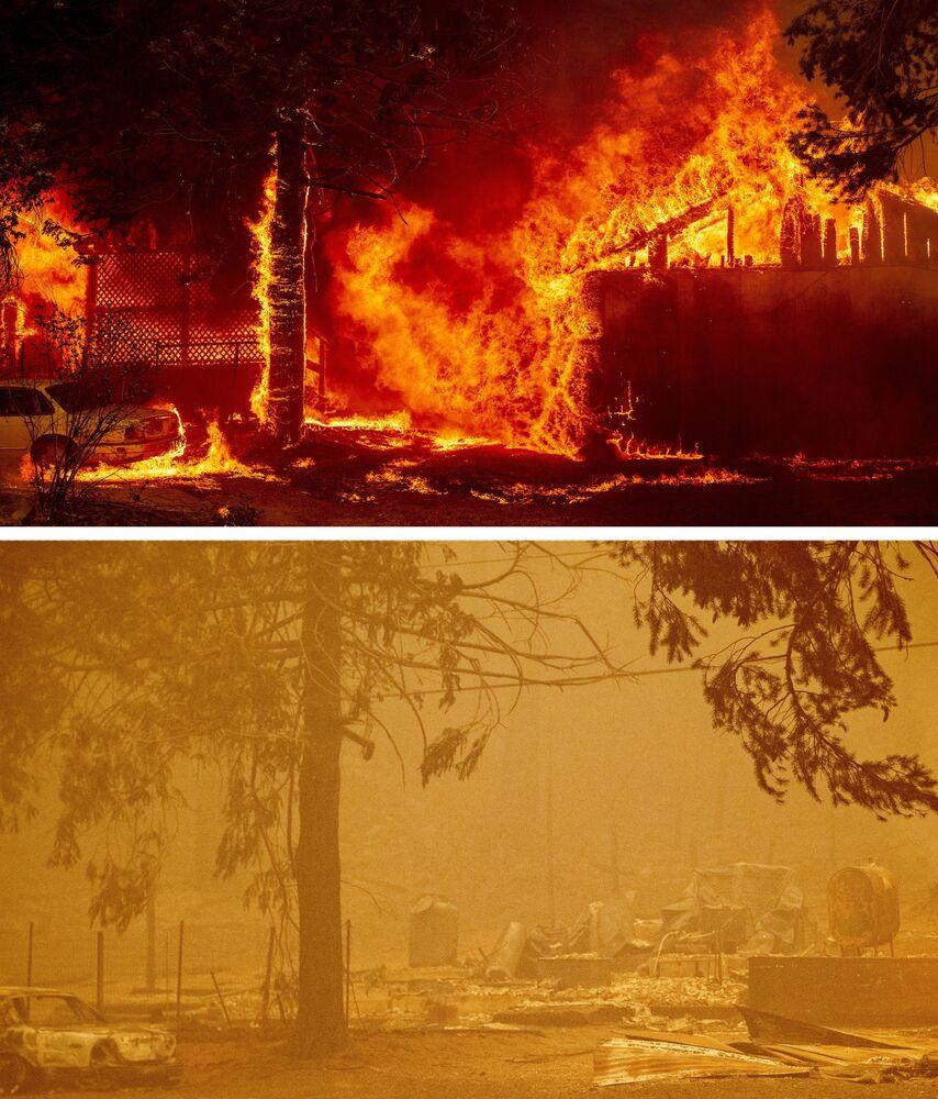 Casa em chamas e os restos do edifício em fotos de 5 de agosto e 6 de agosto de 2021, na cidade de Greenville, Califórnia, EUA