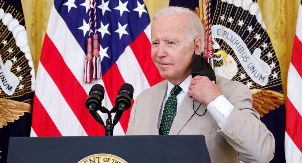 Presidente dos EUA Joe Biden na Casa Branca, Washington, 6 de agosto de 2021