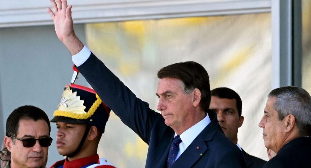 Presidente Jair Bolsonaro durante desfile militar em frente do Palácio do Planalto, Brasília, 10 de agosto de 2021