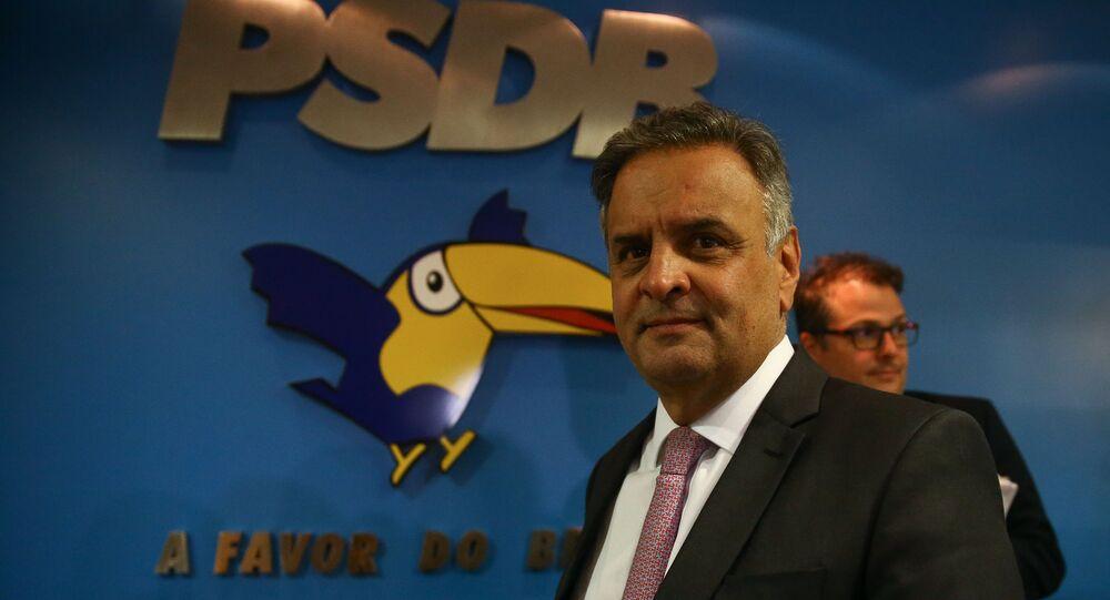 O deputado federal Aécio Neves (PSDB-MG) fala com a imprensa após reunião da executiva do PSDB. Foto de arquivo