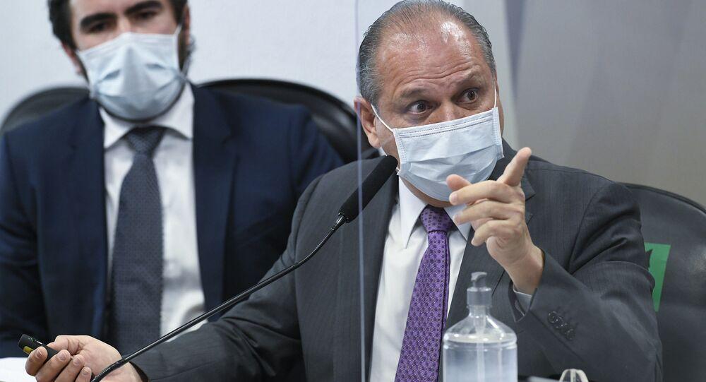 Líder do governo na Câmara, deputado Ricardo Barros (PP-PR) e advogado Diego Caetano da Silva Campos, durante depoimento na CPI da Covid, 12 de agosto de 2021