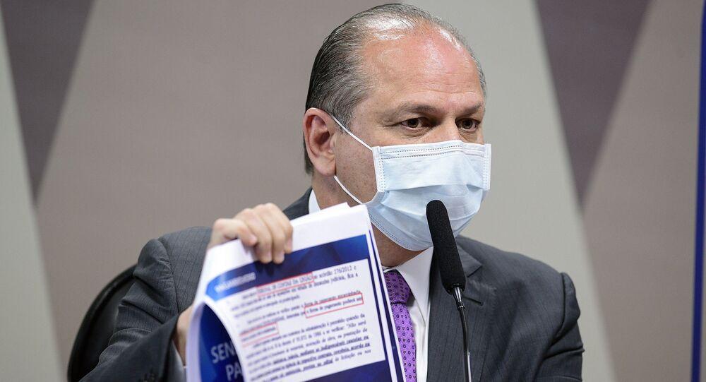 Ricardo Barros durante depoimento na CPI da Covic, 12 de agosto de 2021