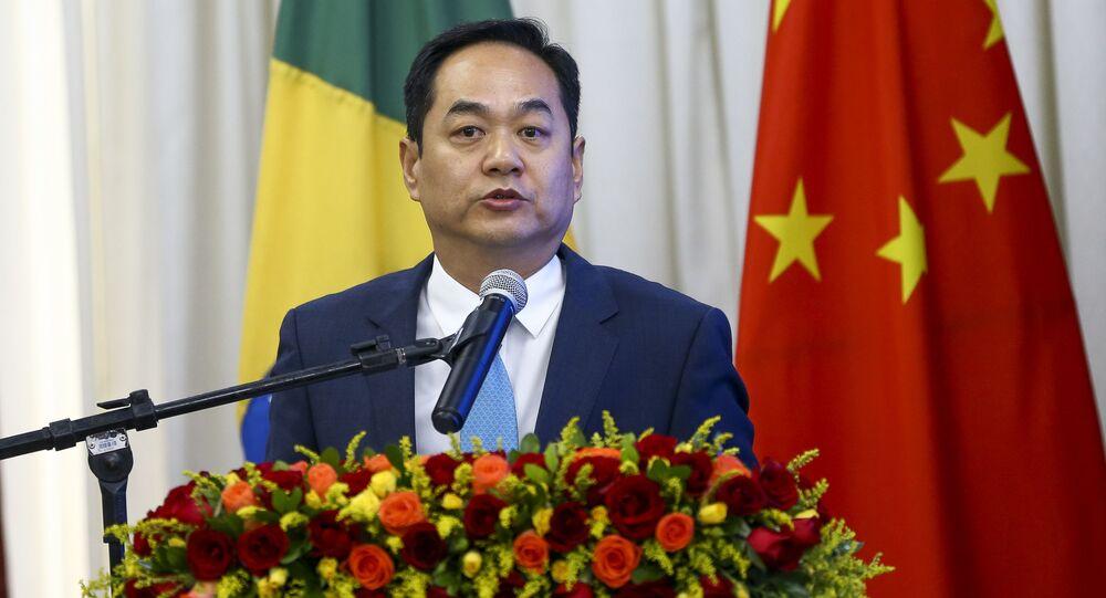 O embaixador da China, Yang Wanming, durante o Fórum de Think Tanks China-Brasil, 27 de abril de 2019