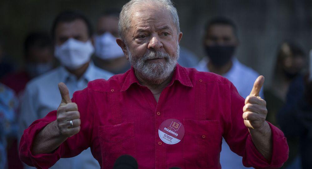 Lula em discurso em São Bernardo do Campo, São Paulo, em 20 de novembro de 2020