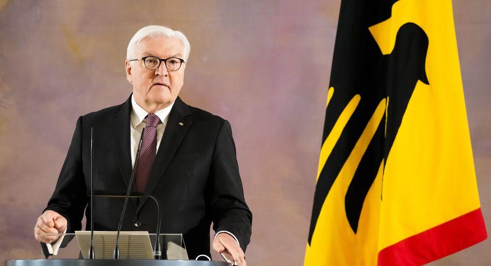 Presidente alemão, Frank-Walter Steinmeier discursa em Berlim, Alemanha
