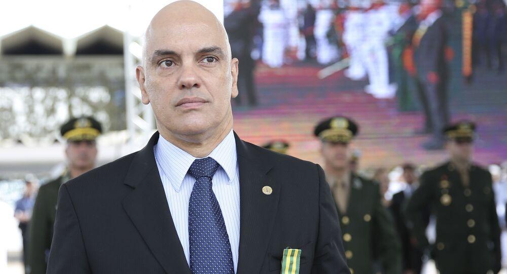 O ministro do STF, Alexandre de Moraes, participa de solenidade do Dia do Marinheiro e de entrega da Medalha de Mérito Tamandaré, no Grupamento de Fuzileiros Navais de Brasília, 13 de dezembro de 2018