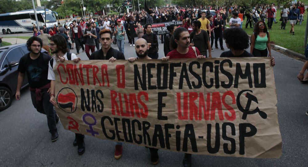 Ato dos estudantes da da Universidade de São Paulo, contra a eleição de Jair Messias Bolsonaro. Foto de arquivo