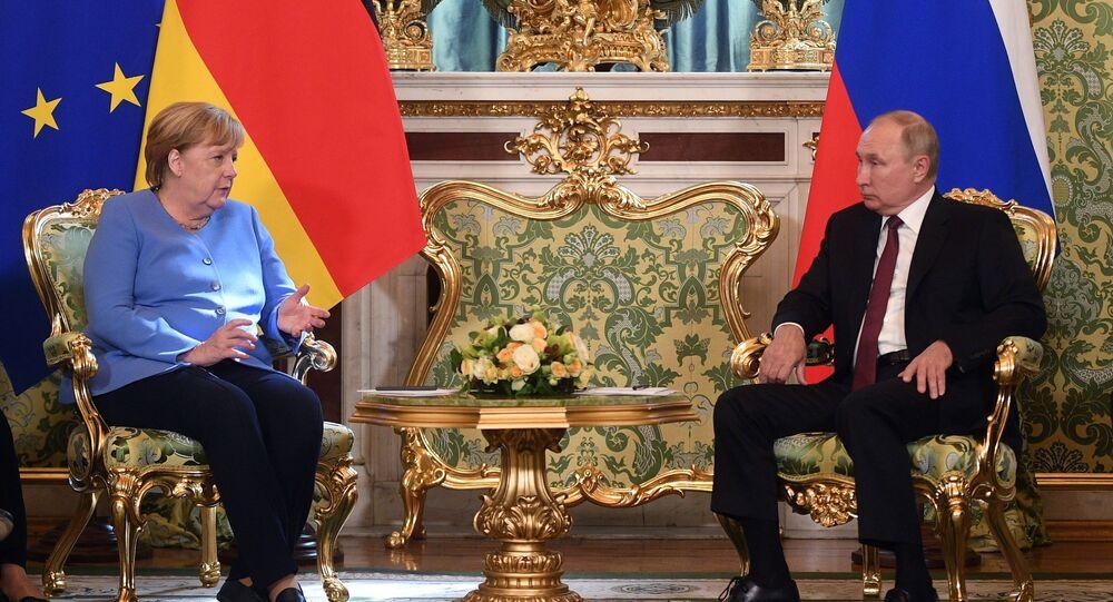 Vladimir Putin, presidente da Rússia, participa de reunião com Angela Merkel, chanceler da Alemanha, em Moscou, Rússia, 20 de agosto de 2021