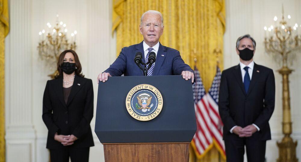 O presidente Joe Biden fala sobre a evacuação de cidadãos americanos, suas famílias e afegãos vulneráveis na Sala Leste da Casa Branca, 20 de agosto de 2021