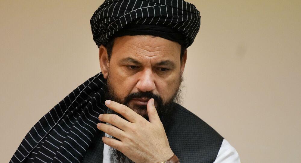 Mohammad Naim, representante oficial do Talibã, durante coletiva de imprensa em Moscou, 9 de julho 2021