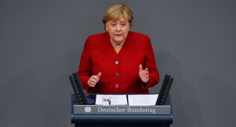 Chanceler alemã Angela Merkel durante discurso sobre situação no Afeganistão no Bundestag, Alemanha, 25 de agosto de 2021