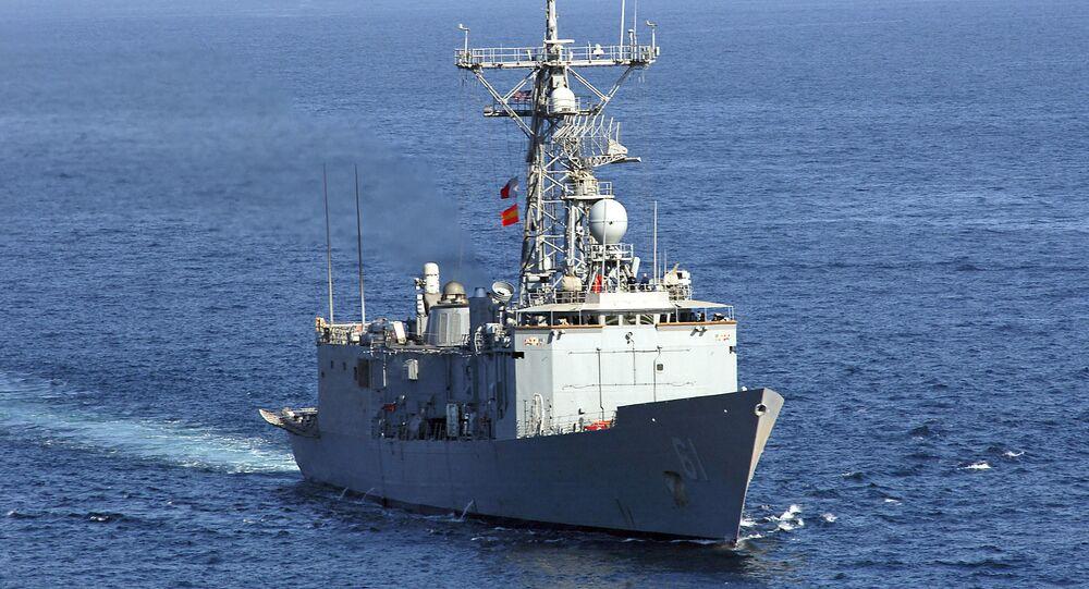 Fragata USS Ingraham da Marinha dos EUA no Golfo Pérsico, 7 de fevereiro de 2008