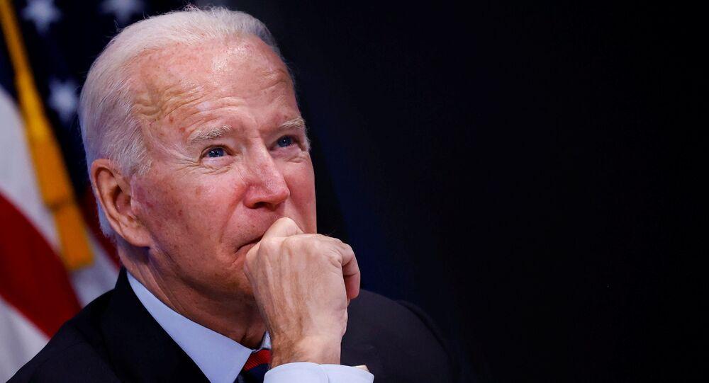 Presidente dos EUA, Joe Biden durante um briefing virtual sobre o furacão Ida