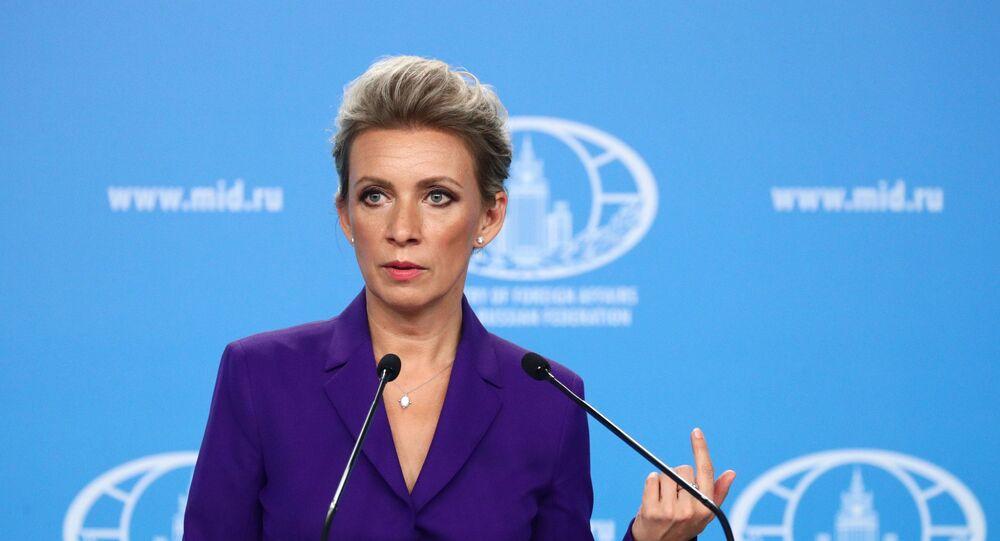 Representante oficial do MRE russo, Maria Zakharova, durante o briefing em 22 de julho de 2021