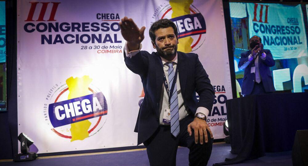 O deputado André Ventura, fundador e presidente do Chega, durante congresso nacional do partido, em 30 de maio de 2021
