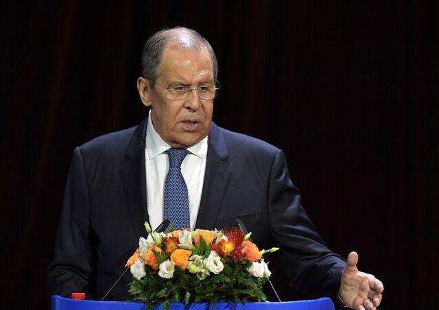 Chanceler russo Sergei Lavrov durante encontro com estudantes e professores do MGIMO em 1º de setembro de 2021