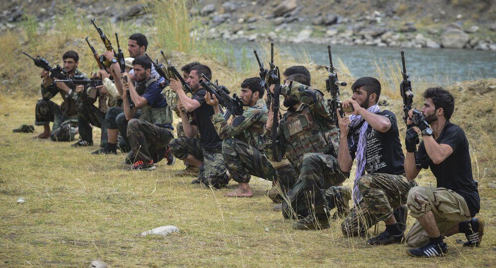 Movimento de resistência afegão participam de treinamento militar na província de Panjshir. Foto de arquivo