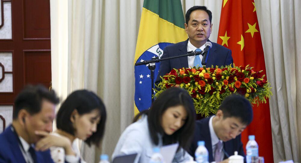 O embaixador da China, Yang Wanming, durante o Fórum de Think Tanks China-Brasil, Brasília, 27 de abril de 2019