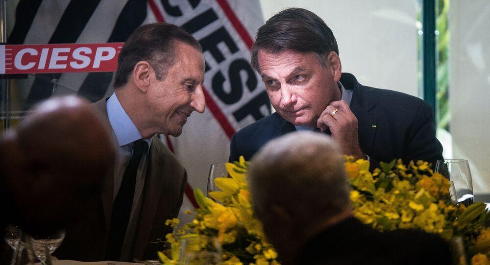 O presidente Jair Bolsonaro em almoço na Fiesp, em São Paulo, com a presença de Paulo Skaf
