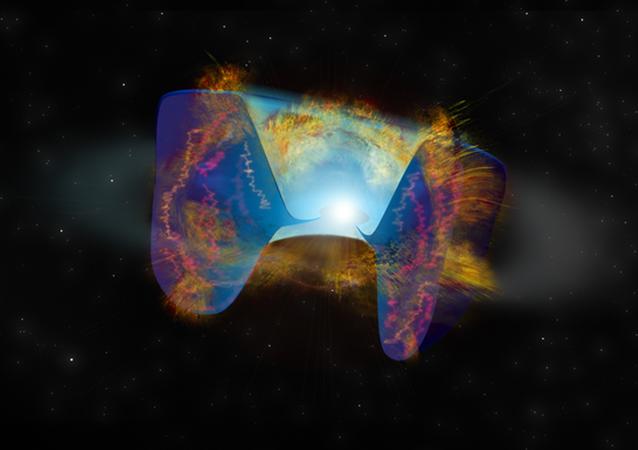 Detritos em movimento rápido de uma explosão de supernova desencadeada por uma colisão estelar com material previamente jogado para fora. Os choques causam emissão de rádio brilhante vista pelo complexo de radiotelescópios Very Large Array (VLA)