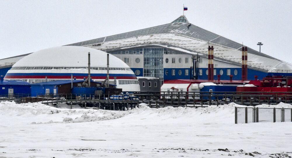 Vista da base militar russra Trevo do Norte, no Ártico. Foto de arquivo