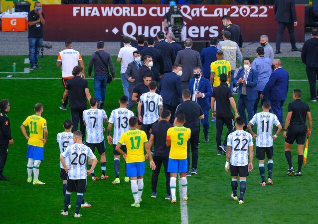 Jogo do Brasil e Argentina paralisado devido atuações irregulares de jogadores argentinos na Neo Química Arena, válida pela eliminatórias da Copa do Mundo