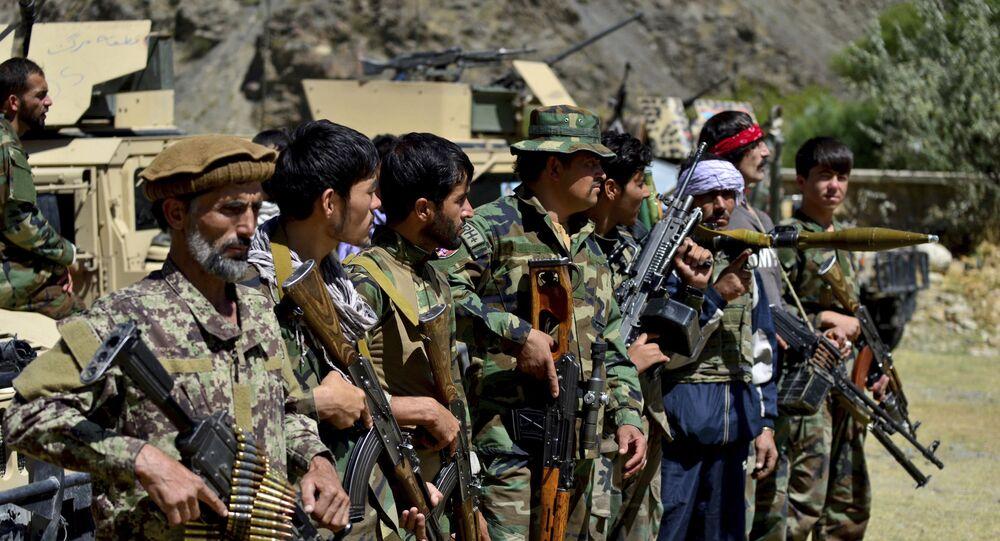 Militantes leais a Ahmad Massoud na província de Panjshir, Afeganistão, 26 de agosto de 2021