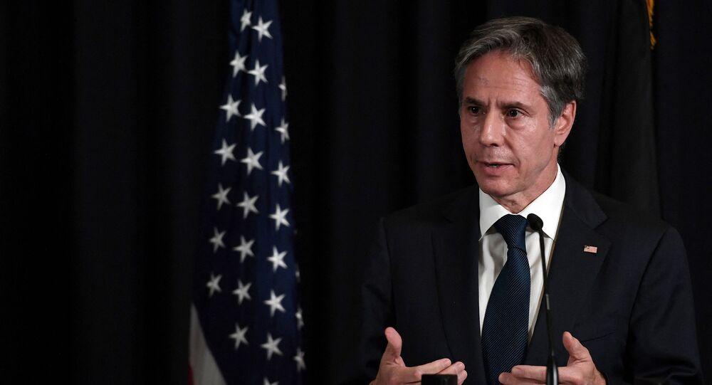 O secretário de Estado dos EUA, Antony Blinken, em entrevista coletiva na base aérea dos EUA em Ramstein, na Alemanha, em 8 de setembro de 2021