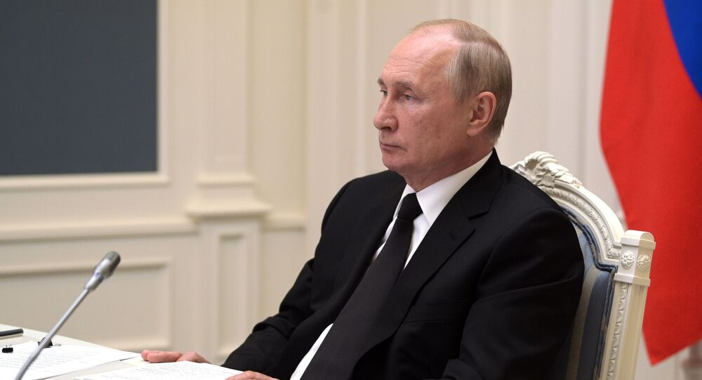 Presidente da Rússia, Vladimir Putin, durante a cúpula do BRICS em formato de videoconferência, 9 de setembro de 2021