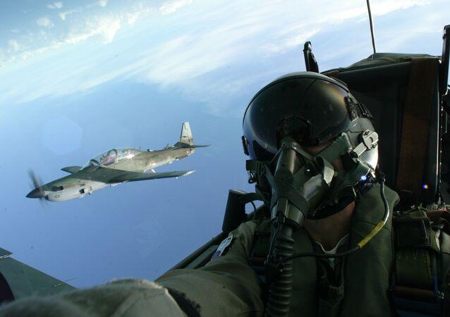 Pilotos da FAB fazem voo de treinamento no Super-Tucano, na base aérea de Natal, Rio Grande do Norte. Foto de arquivo