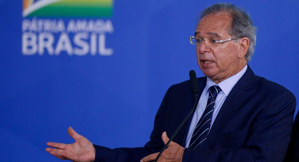 Ministro da Economia, Paulo Guedes, durante cerimônia de Lançamento de Autorizações Ferroviárias, no Palácio do Planalto, em 2 de setembro de 2021