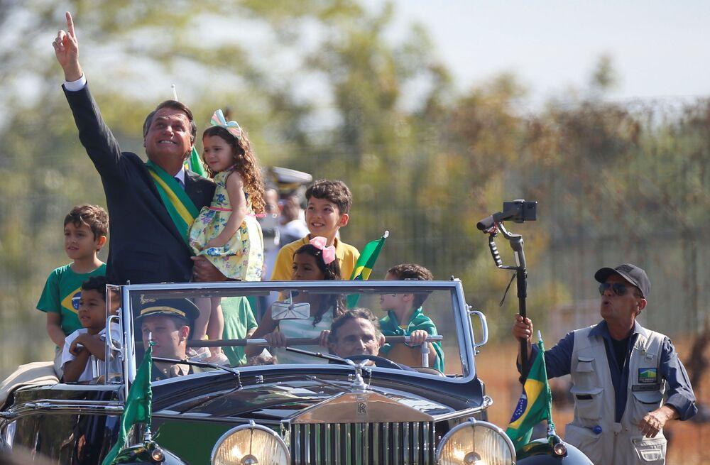 Presidente Jair Bolsonaro presente durante a cerimônia do Dia da Independência do Brasil, em Brasília, 7 de setembro