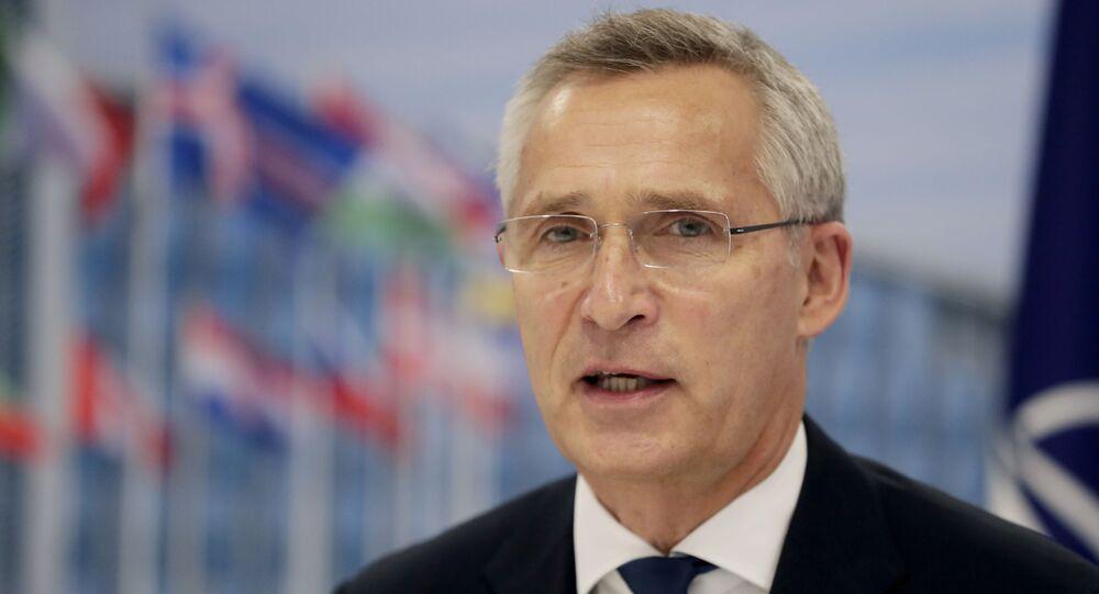 Jens Stoltenberg, secretário-geral da OTAN, na cúpula da OTAN em Bruxelas, Bélgica, 14 de junho de 2021