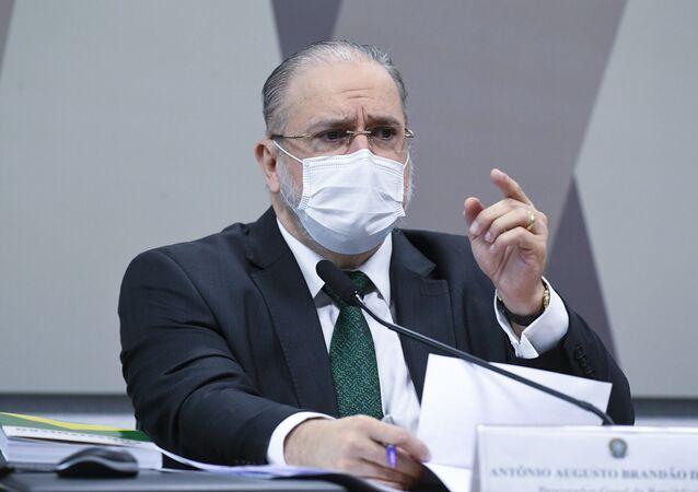 Antônio Augusto Brandão de Aras durante sessão da CCJ - Comissão de Constituição, Justiça e Cidadania no Senado, Brasília, 24 de agosto de 2021