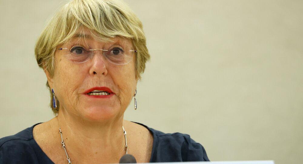 A Alta Comissária das Nações Unidas para os Direitos Humanos, Michelle Bachelet, participa de uma sessão do Conselho de Direitos Humanos nas Nações Unidas em Genebra, Suíça, 13 de setembro de 2021