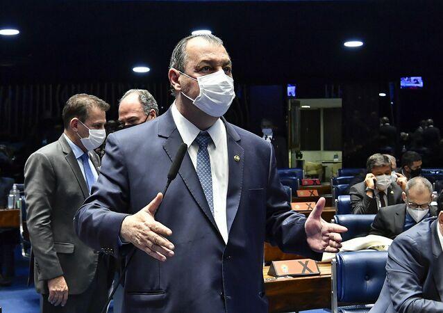 Senador Omar Aziz durante sessão no Congresso, Brasília, 1º de setembro de 2021